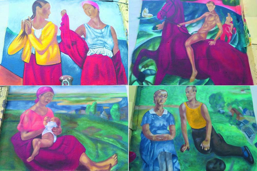 На набережной Саратова появились граффити с картинами Петрова-Водкина